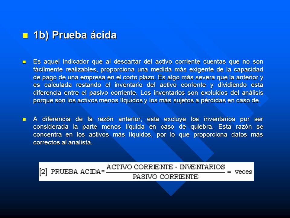 1b) Prueba ácida 1b) Prueba ácida Es aquel indicador que al descartar del activo corriente cuentas que no son fácilmente realizables, proporciona una