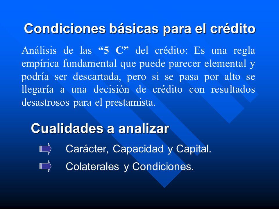 Carácter, Capacidad y Capital. Colaterales y Condiciones. Condiciones básicas para el crédito Análisis de las 5 C del crédito: Es una regla empírica f