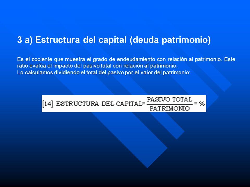 3 a) Estructura del capital (deuda patrimonio) Es el cociente que muestra el grado de endeudamiento con relación al patrimonio. Este ratio evalúa el i