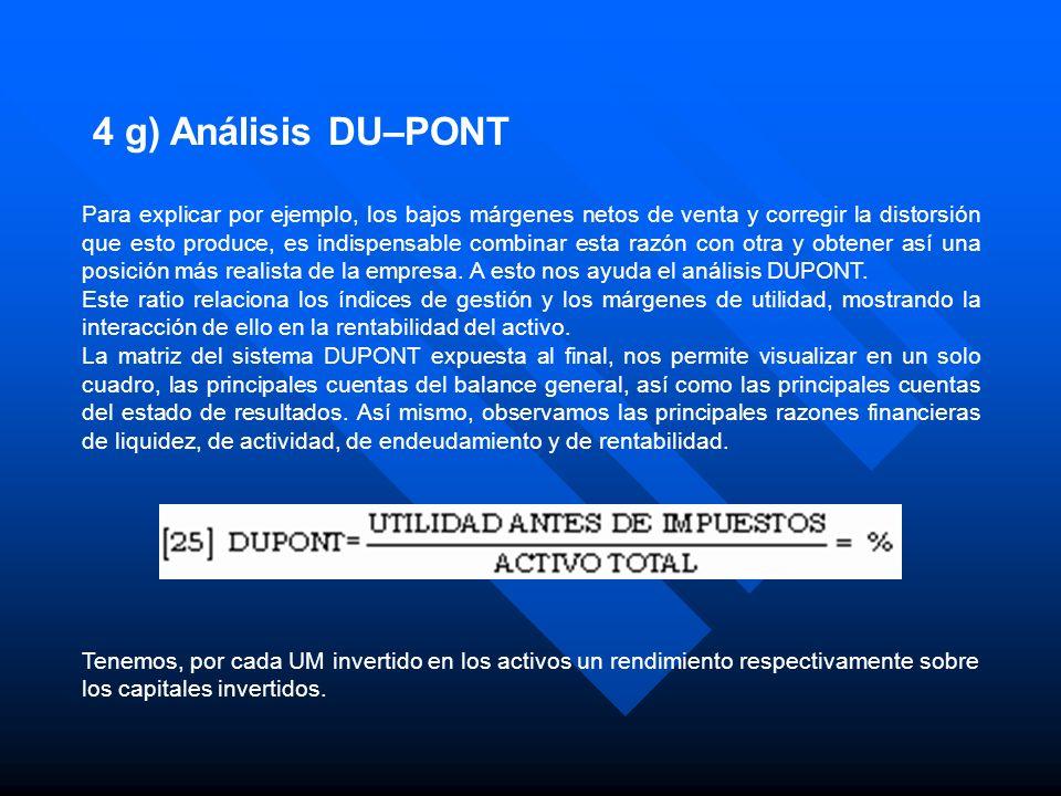 4 g) Análisis DU–PONT Para explicar por ejemplo, los bajos márgenes netos de venta y corregir la distorsión que esto produce, es indispensable combina