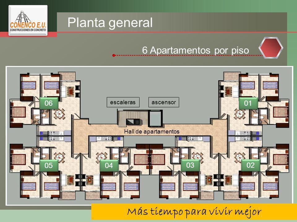 LOGO Planta general 6 Apartamentos por piso ascensorescaleras 01 02 03 04 05 06 Más tiempo para vivir mejor Hall de apartamentos