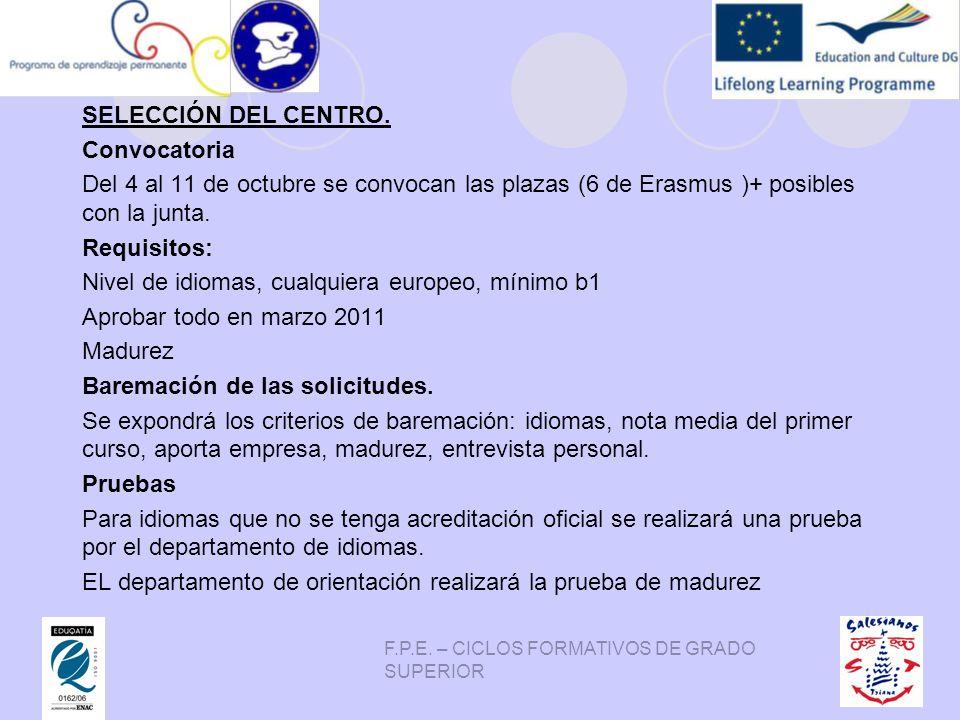F.P.E. – CICLOS FORMATIVOS DE GRADO SUPERIOR SELECCIÓN DEL CENTRO. Convocatoria Del 4 al 11 de octubre se convocan las plazas (6 de Erasmus )+ posible
