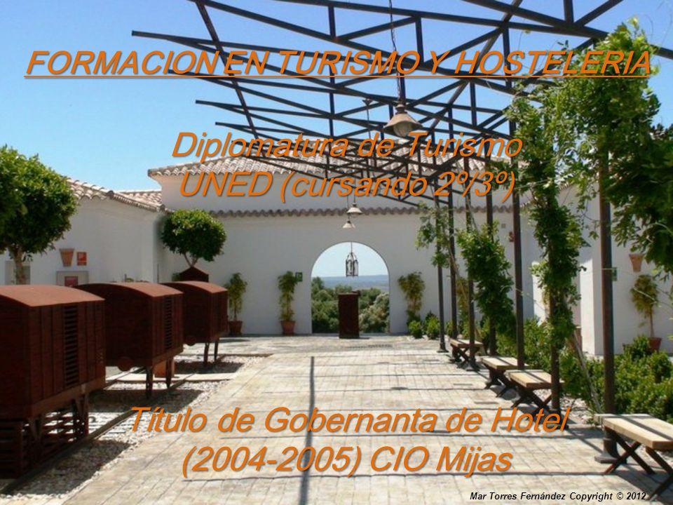 FORMACION EN TURISMO Y HOSTELERIA Diplomatura de Turismo UNED (cursando 2º/3º) Título de Gobernanta de Hotel (2004-2005) CIO Mijas Mar Torres Fernánde