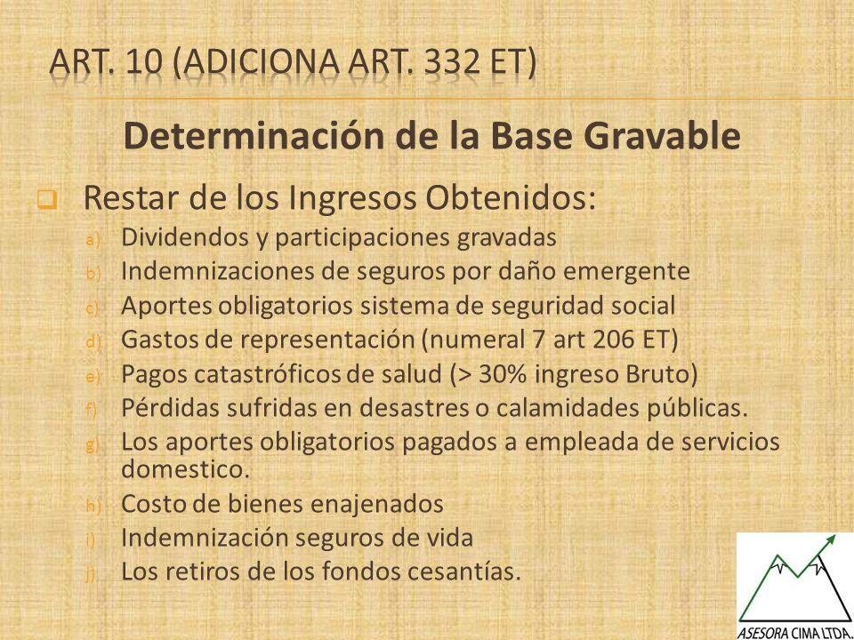 Determinación de la Base Gravable Restar de los Ingresos Obtenidos: a) Dividendos y participaciones gravadas b) Indemnizaciones de seguros por daño em
