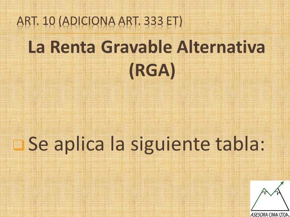 La Renta Gravable Alternativa (RGA) Se aplica la siguiente tabla: