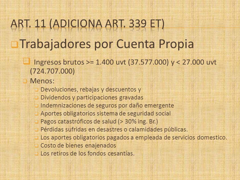 Trabajadores por Cuenta Propia Ingresos brutos >= 1.400 uvt (37.577.000) y < 27.000 uvt (724.707.000) Menos: Devoluciones, rebajas y descuentos y Divi
