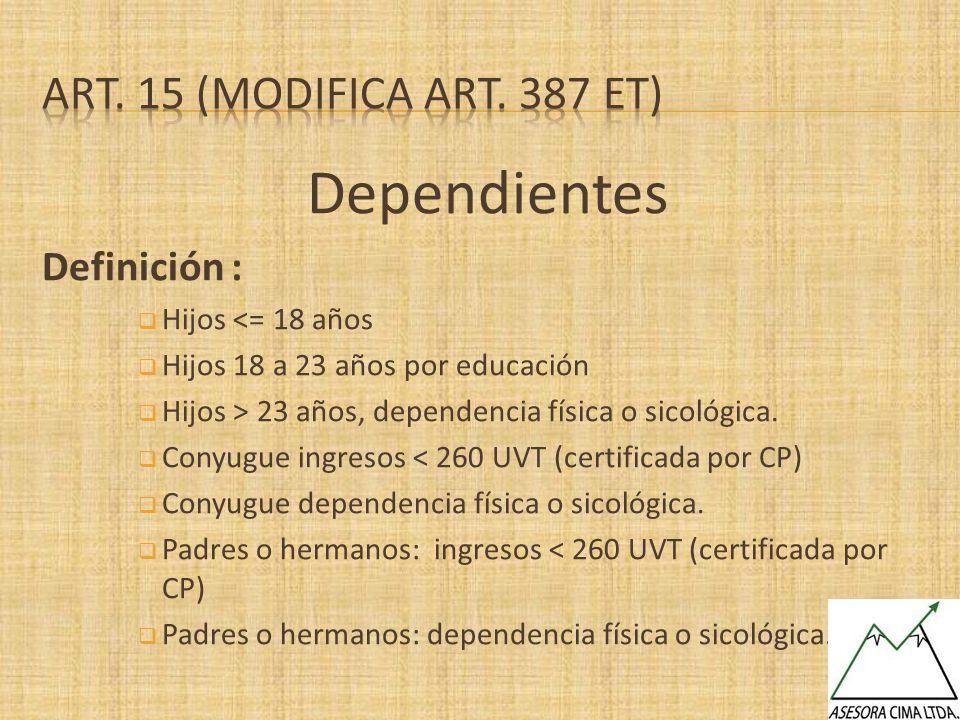Dependientes Definición : Hijos <= 18 años Hijos 18 a 23 años por educación Hijos > 23 años, dependencia física o sicológica. Conyugue ingresos < 260