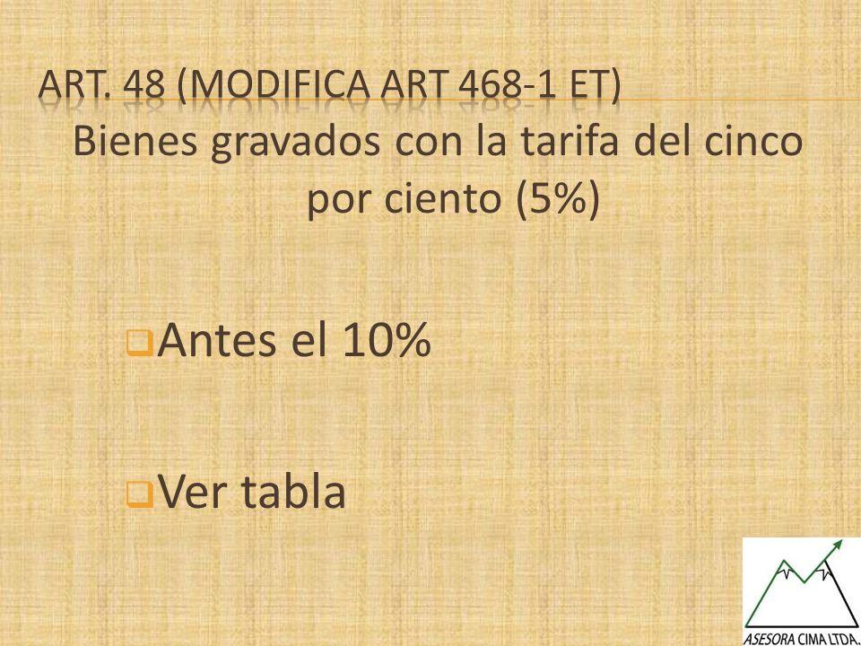 Bienes gravados con la tarifa del cinco por ciento (5%) Antes el 10% Ver tabla