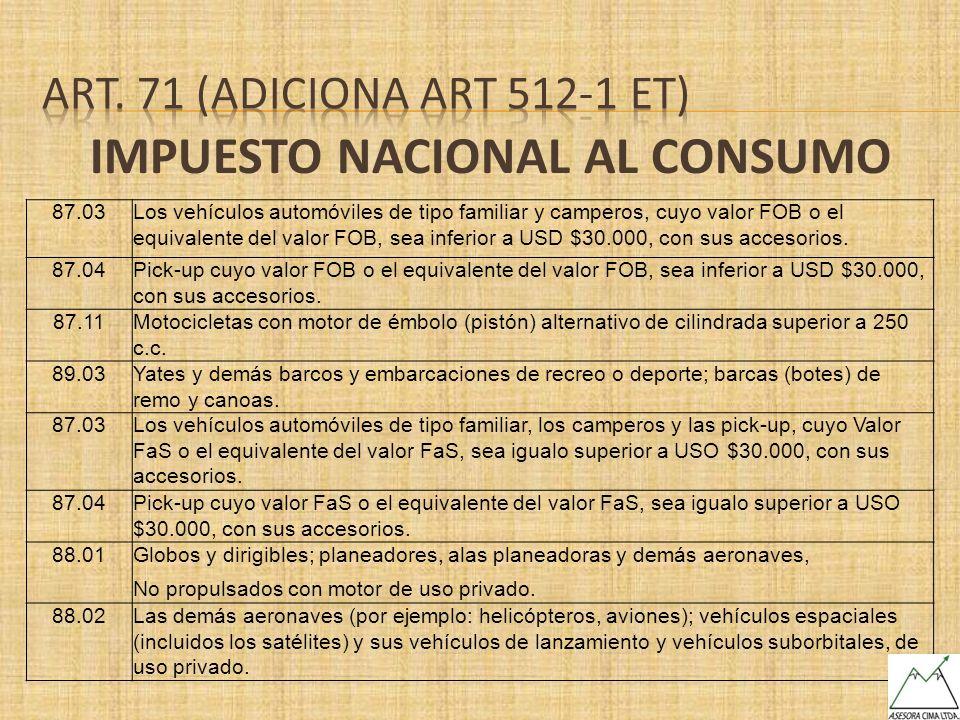 IMPUESTO NACIONAL AL CONSUMO 87.03Los vehículos automóviles de tipo familiar y camperos, cuyo valor FOB o el equivalente del valor FOB, sea inferior a
