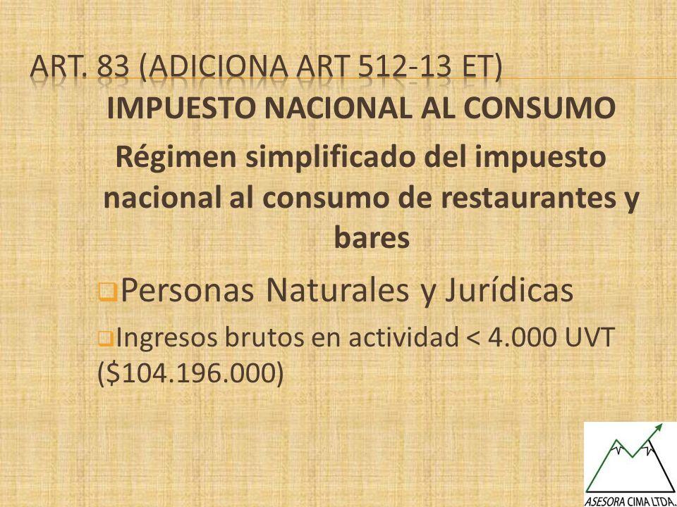IMPUESTO NACIONAL AL CONSUMO Régimen simplificado del impuesto nacional al consumo de restaurantes y bares Personas Naturales y Jurídicas Ingresos bru