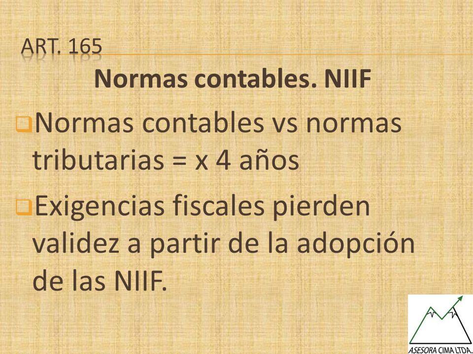 Normas contables. NIIF Normas contables vs normas tributarias = x 4 años Exigencias fiscales pierden validez a partir de la adopción de las NIIF.