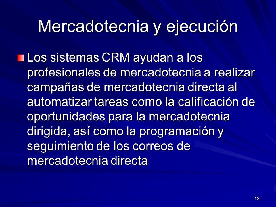 12 Mercadotecnia y ejecución Los sistemas CRM ayudan a los profesionales de mercadotecnia a realizar campañas de mercadotecnia directa al automatizar
