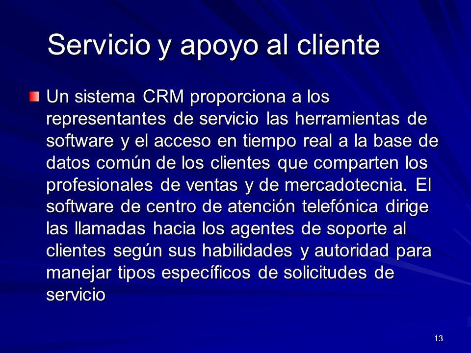 13 Servicio y apoyo al cliente Un sistema CRM proporciona a los representantes de servicio las herramientas de software y el acceso en tiempo real a l