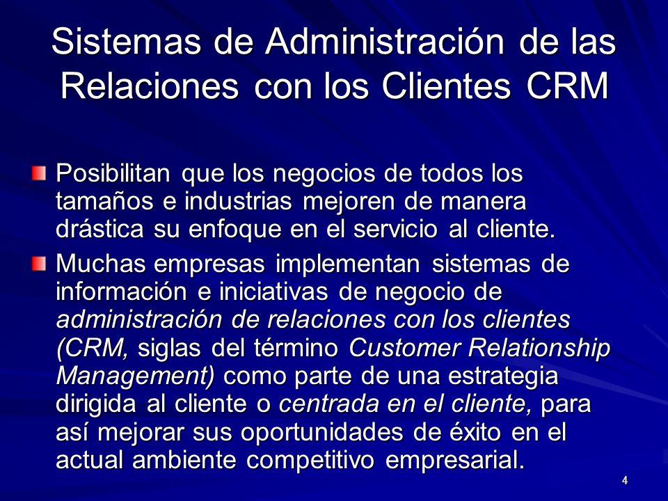 4 Sistemas de Administración de las Relaciones con los Clientes CRM Posibilitan que los negocios de todos los tamaños e industrias mejoren de manera d