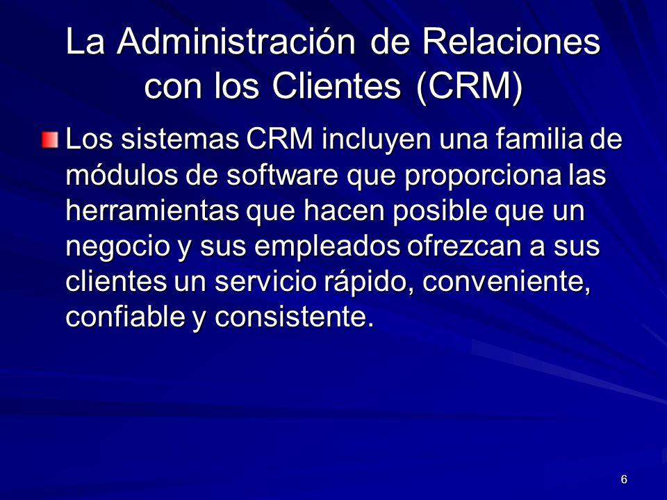 6 Los sistemas CRM incluyen una familia de módulos de software que proporciona las herramientas que hacen posible que un negocio y sus empleados ofrez