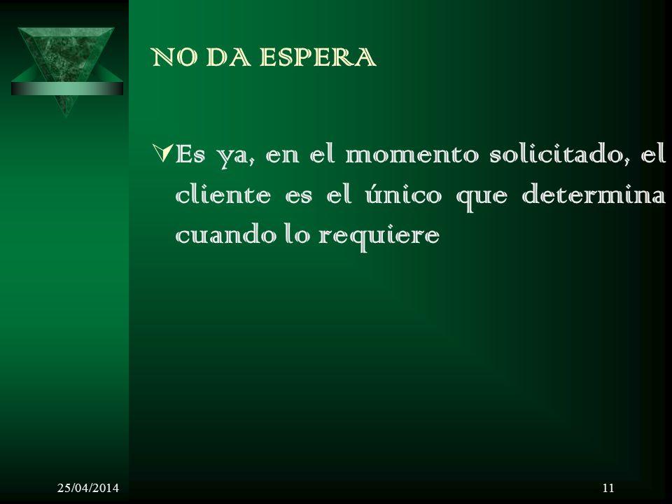 25/04/201411 NO DA ESPERA Es ya, en el momento solicitado, el cliente es el único que determina cuando lo requiere
