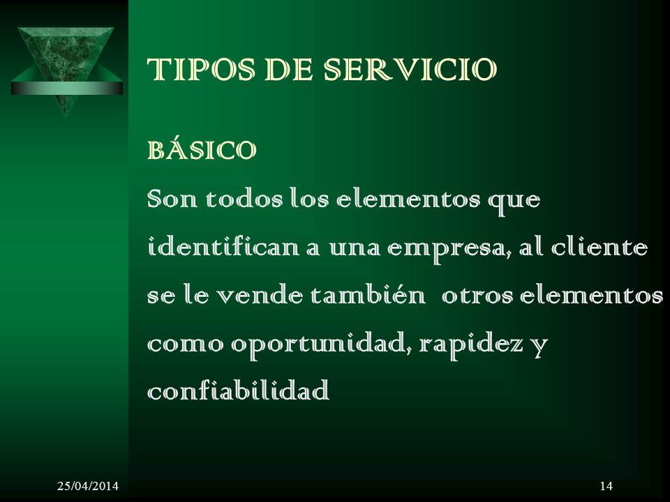 25/04/201414 TIPOS DE SERVICIO BÁSICO Son todos los elementos que identifican a una empresa, al cliente se le vende también otros elementos como oport
