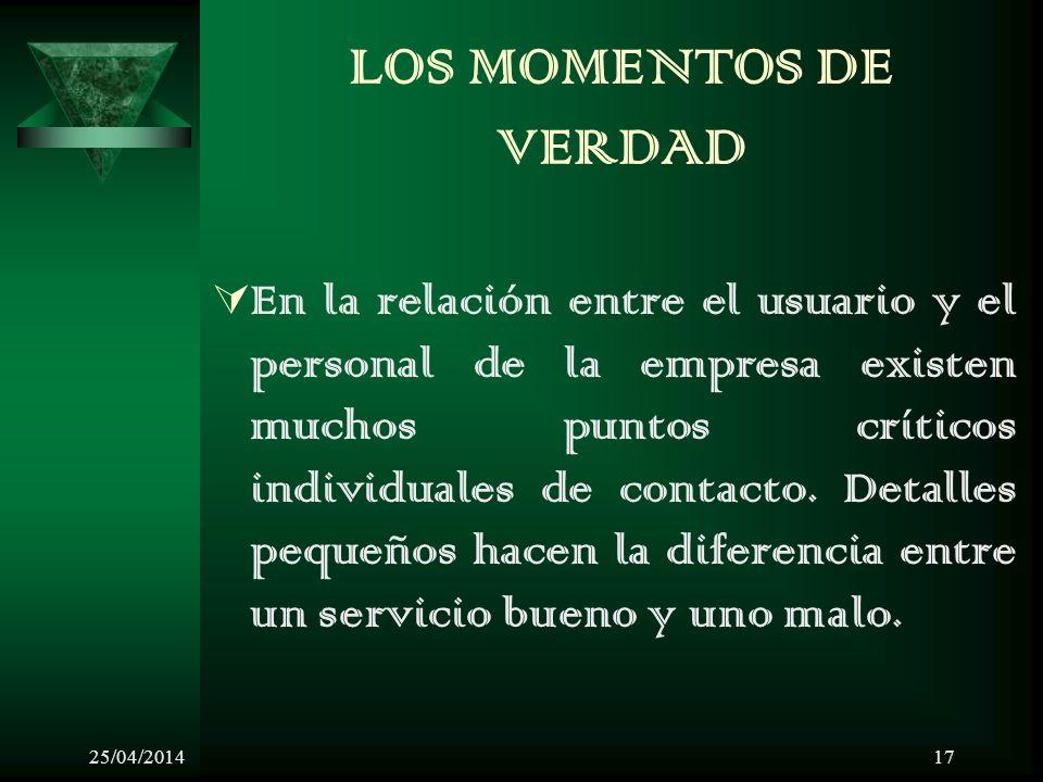 25/04/201417 LOS MOMENTOS DE VERDAD En la relación entre el usuario y el personal de la empresa existen muchos puntos críticos individuales de contacto.
