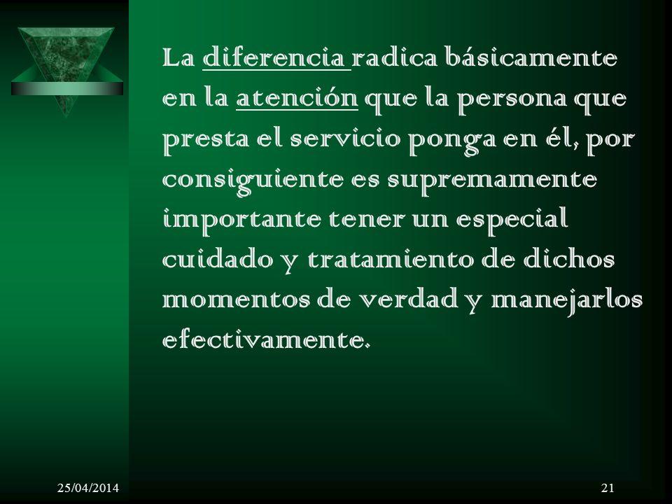 25/04/201421 La diferencia radica básicamente en la atención que la persona que presta el servicio ponga en él, por consiguiente es supremamente impor