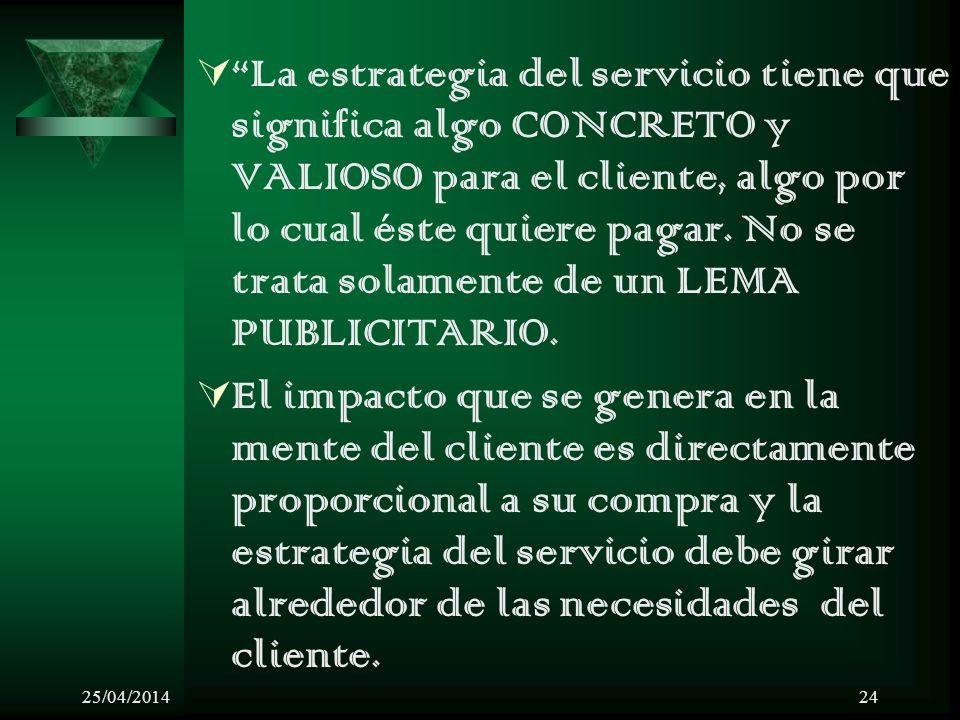 25/04/201424 La estrategia del servicio tiene que significa algo CONCRETO y VALIOSO para el cliente, algo por lo cual éste quiere pagar. No se trata s