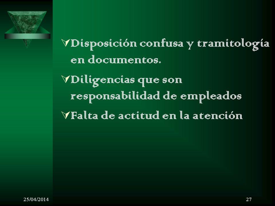 25/04/201427 Disposición confusa y tramitología en documentos. Diligencias que son responsabilidad de empleados Falta de actitud en la atención