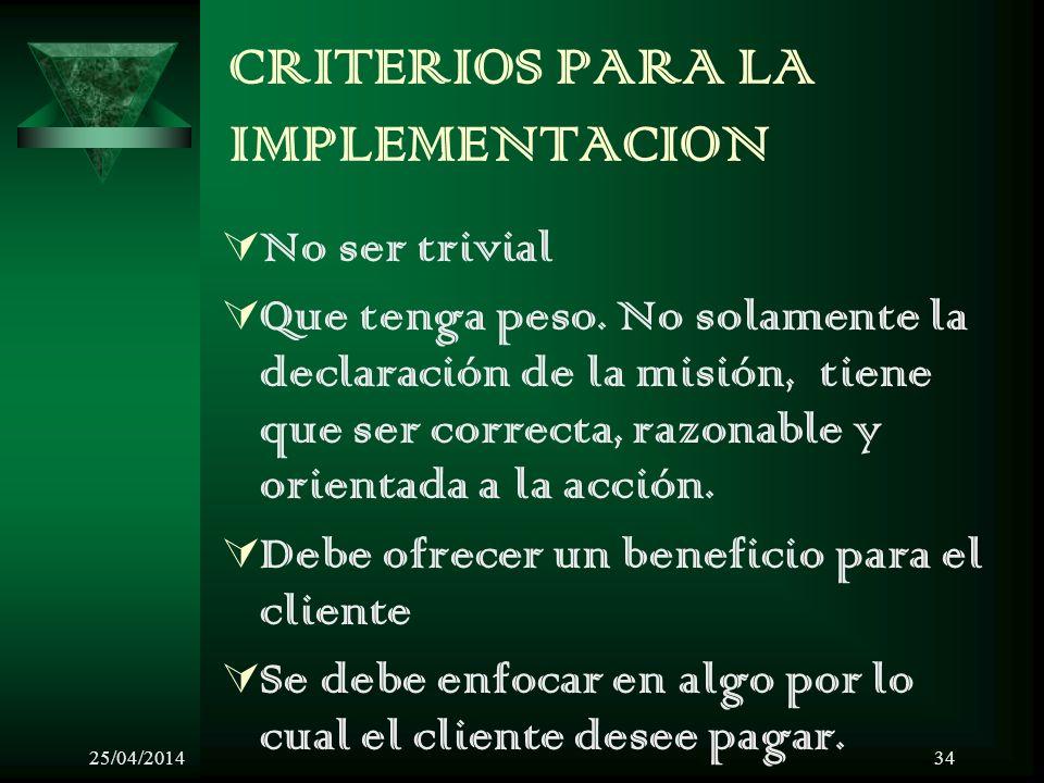 25/04/201434 CRITERIOS PARA LA IMPLEMENTACION No ser trivial Que tenga peso.
