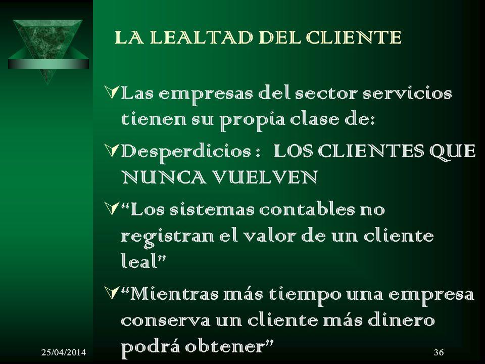 25/04/201436 LA LEALTAD DEL CLIENTE Las empresas del sector servicios tienen su propia clase de: Desperdicios : LOS CLIENTES QUE NUNCA VUELVEN Los sis