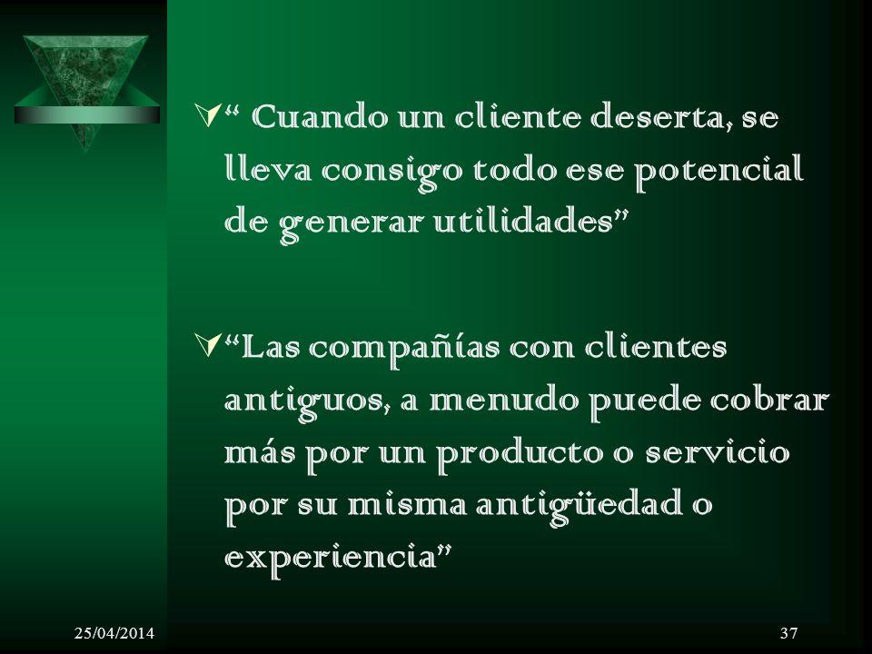 25/04/201437 Cuando un cliente deserta, se lleva consigo todo ese potencial de generar utilidades Las compañías con clientes antiguos, a menudo puede