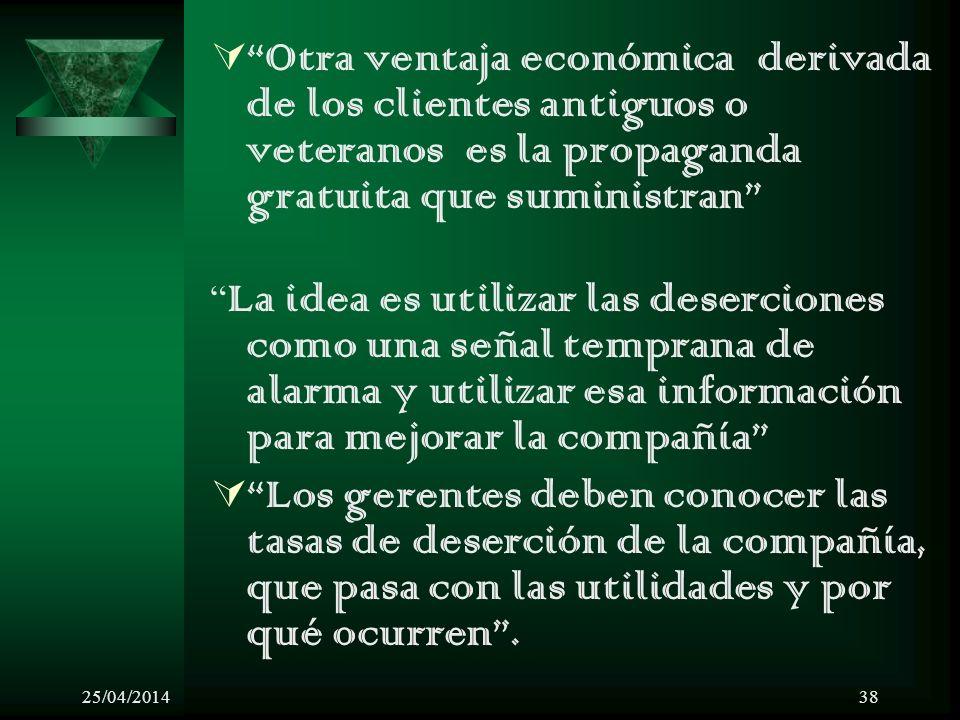 25/04/201438 Otra ventaja económica derivada de los clientes antiguos o veteranos es la propaganda gratuita que suministran La idea es utilizar las de