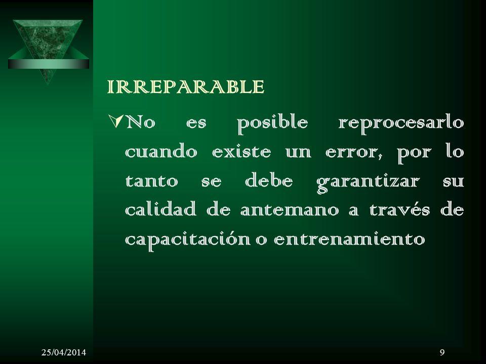 25/04/20149 IRREPARABLE No es posible reprocesarlo cuando existe un error, por lo tanto se debe garantizar su calidad de antemano a través de capacitación o entrenamiento
