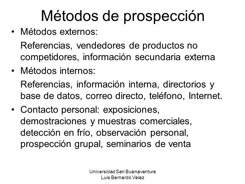 Universidad San Buenaventura Luis Bernardo Velez Métodos de prospección Métodos externos: Referencias, vendedores de productos no competidores, inform