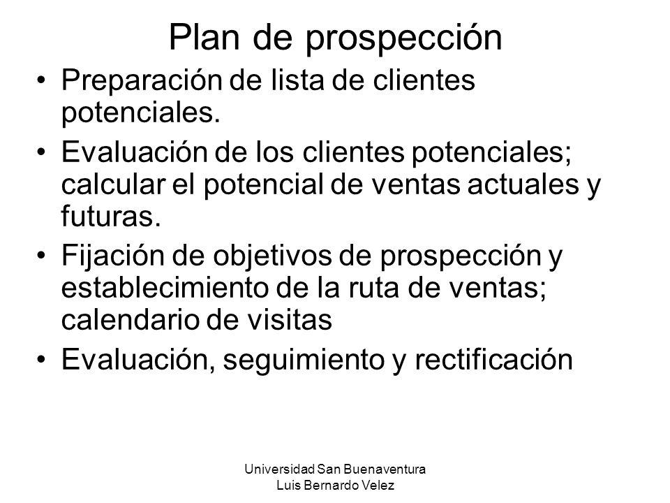 Universidad San Buenaventura Luis Bernardo Velez Plan de prospección Preparación de lista de clientes potenciales. Evaluación de los clientes potencia