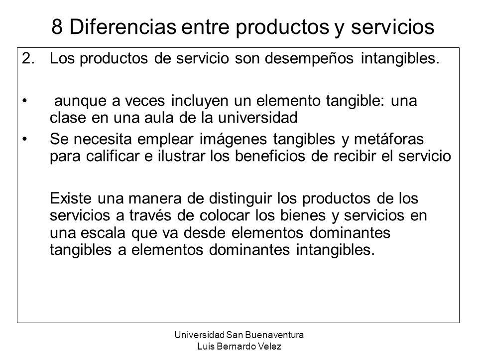 Universidad San Buenaventura Luis Bernardo Velez 8 Diferencias entre productos y servicios 2.Los productos de servicio son desempeños intangibles. aun