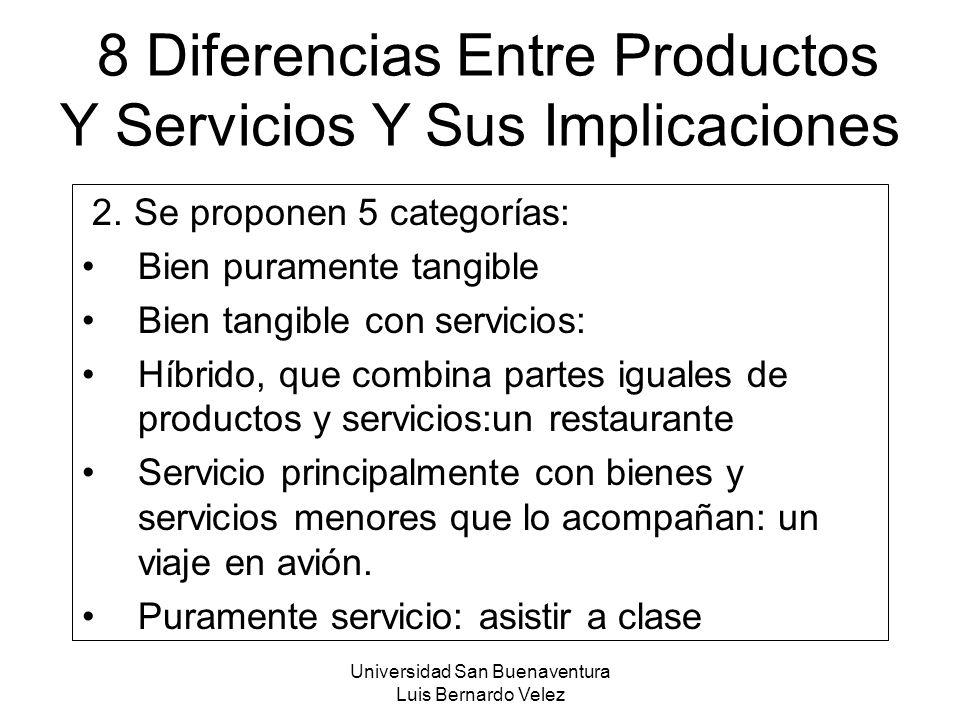 Universidad San Buenaventura Luis Bernardo Velez 8 Diferencias Entre Productos Y Servicios Y Sus Implicaciones 2. Se proponen 5 categorías: Bien puram