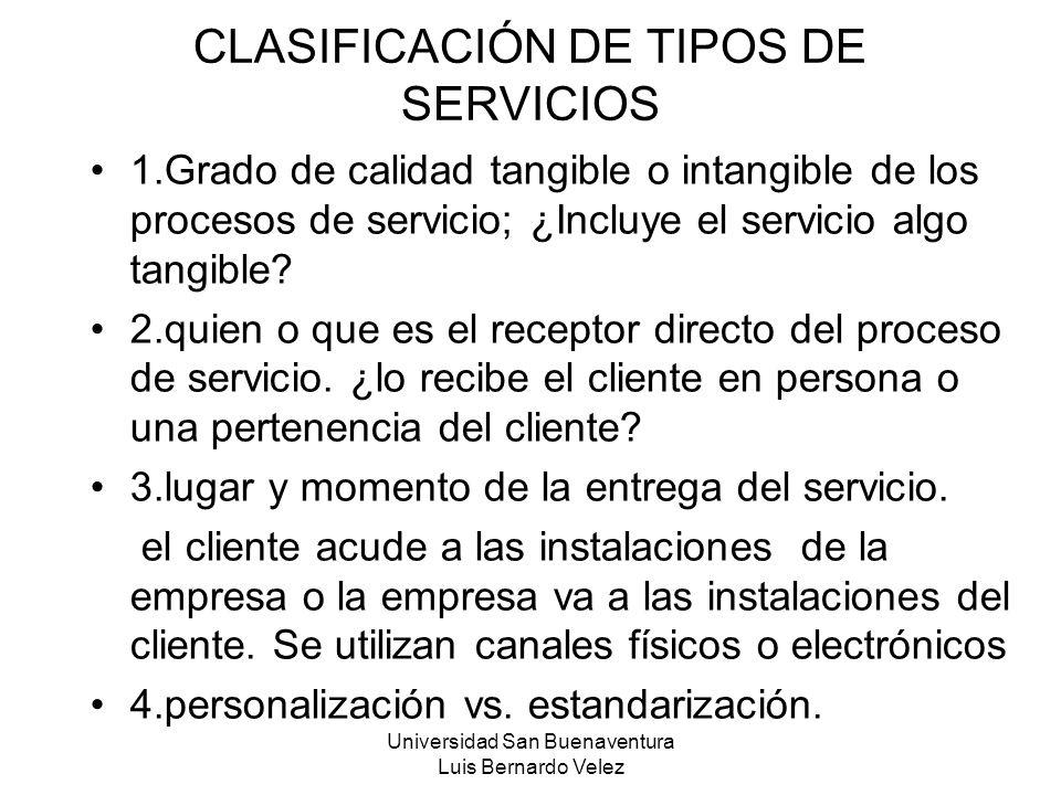 Universidad San Buenaventura Luis Bernardo Velez CLASIFICACIÓN DE TIPOS DE SERVICIOS 1.Grado de calidad tangible o intangible de los procesos de servi