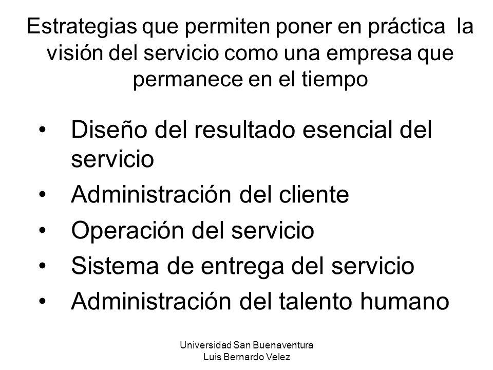 Universidad San Buenaventura Luis Bernardo Velez Estrategias que permiten poner en práctica la visión del servicio como una empresa que permanece en e