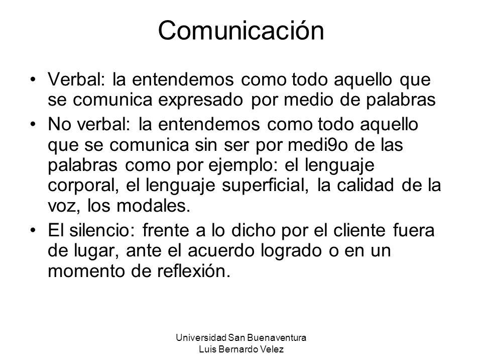 Universidad San Buenaventura Luis Bernardo Velez Comunicación Verbal: la entendemos como todo aquello que se comunica expresado por medio de palabras