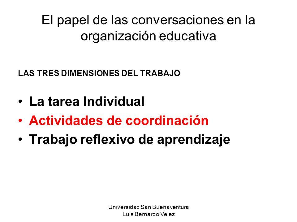 Universidad San Buenaventura Luis Bernardo Velez El papel de las conversaciones en la organización educativa LAS TRES DIMENSIONES DEL TRABAJO La tarea