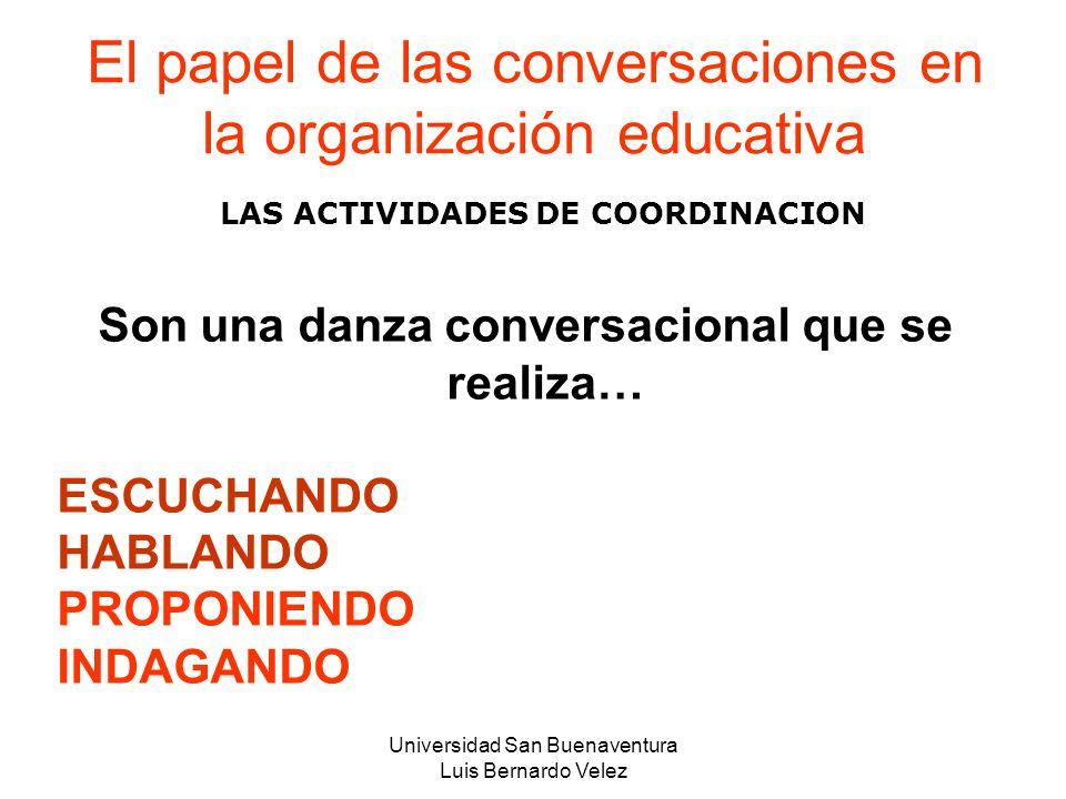 Universidad San Buenaventura Luis Bernardo Velez El papel de las conversaciones en la organización educativa LAS ACTIVIDADES DE COORDINACION Son una d