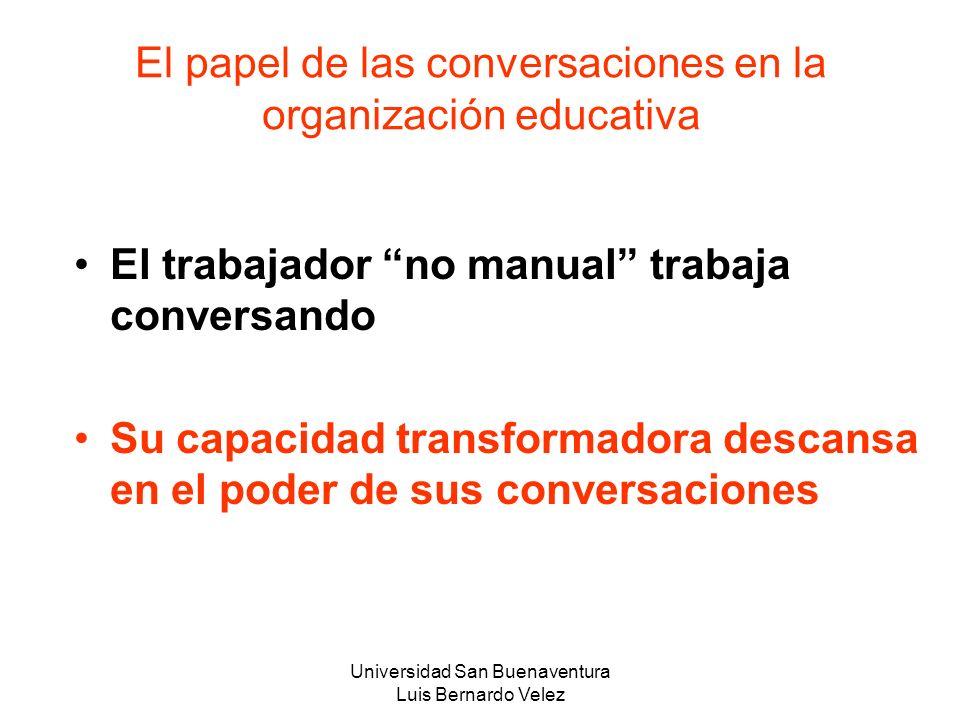 Universidad San Buenaventura Luis Bernardo Velez El papel de las conversaciones en la organización educativa El trabajador no manual trabaja conversan