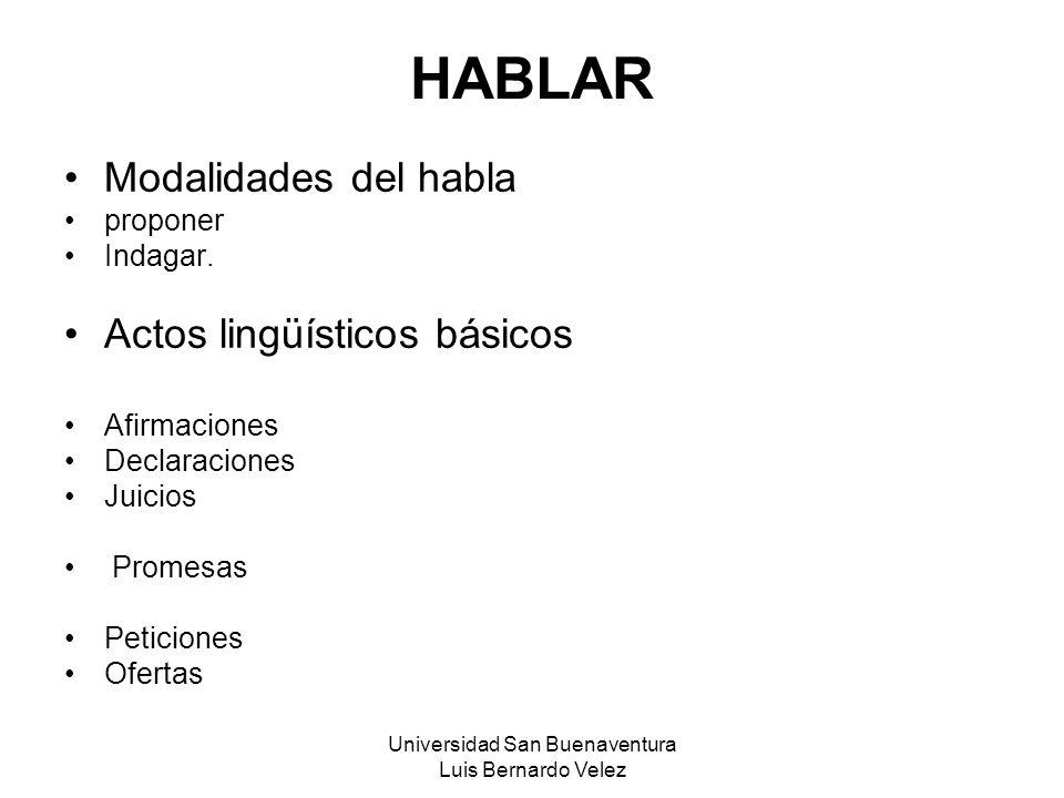 Universidad San Buenaventura Luis Bernardo Velez HABLAR Modalidades del habla proponer Indagar. Actos lingüísticos básicos Afirmaciones Declaraciones