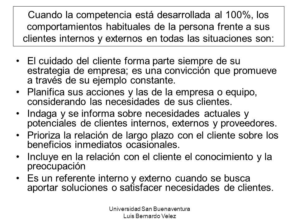 Universidad San Buenaventura Luis Bernardo Velez Cuando la competencia está desarrollada al 100%, los comportamientos habituales de la persona frente