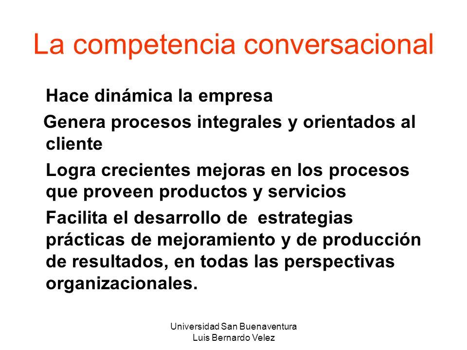 Universidad San Buenaventura Luis Bernardo Velez La competencia conversacional Hace dinámica la empresa Genera procesos integrales y orientados al cli