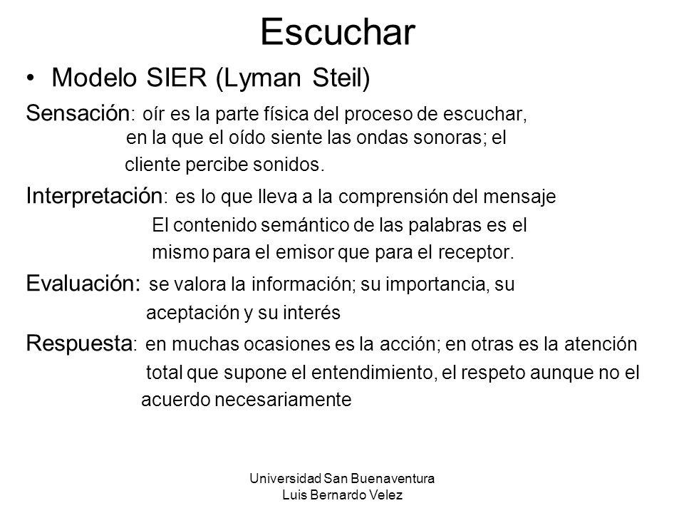 Universidad San Buenaventura Luis Bernardo Velez Escuchar Modelo SIER (Lyman Steil) Sensación : oír es la parte física del proceso de escuchar, en la