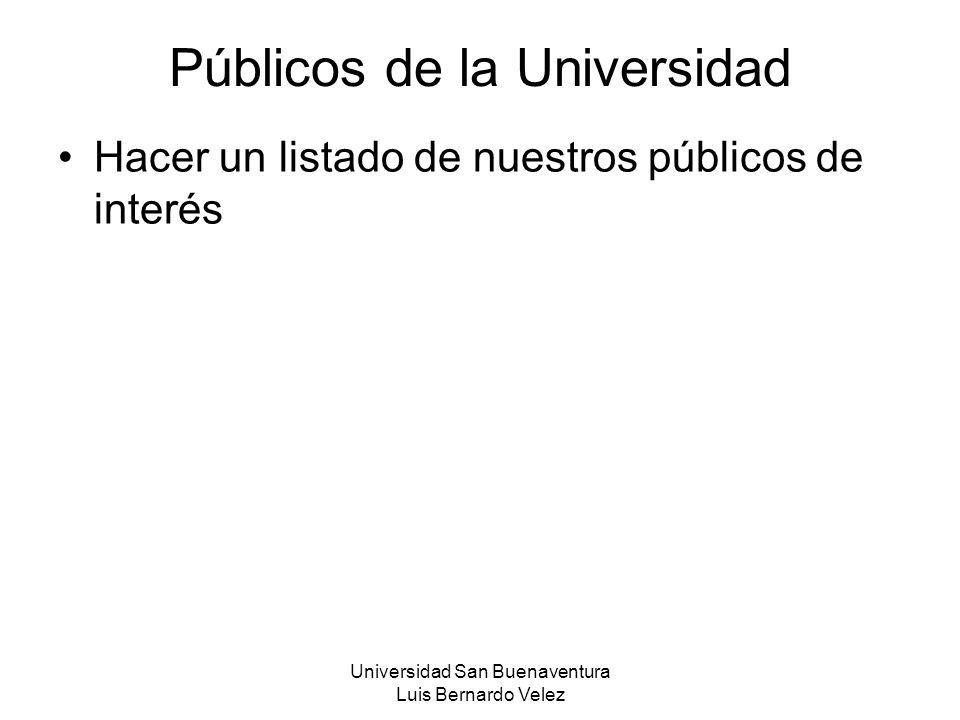 Universidad San Buenaventura Luis Bernardo Velez Públicos de la Universidad Hacer un listado de nuestros públicos de interés