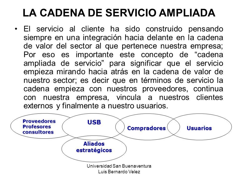 Universidad San Buenaventura Luis Bernardo Velez El servicio al cliente ha sido construido pensando siempre en una integración hacia delante en la cad