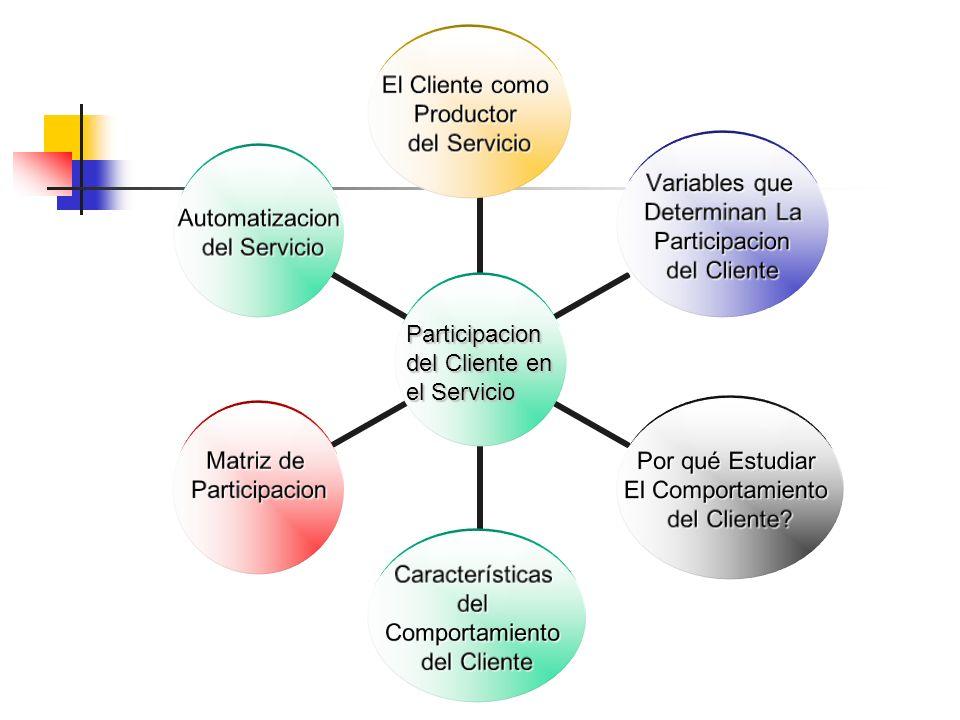 El Cliente como Productor del Servicio Variables que Determinan La Participacion Participacion del Cliente Por qué Estudiar El Comportamiento del Cliente.