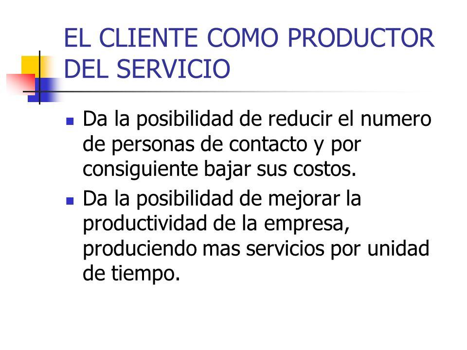 EL CLIENTE COMO PRODUCTOR DEL SERVICIO Da la posibilidad de reducir el numero de personas de contacto y por consiguiente bajar sus costos.