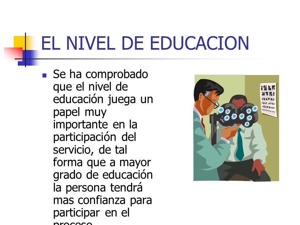 EL NIVEL DE EDUCACION Se ha comprobado que el nivel de educación juega un papel muy importante en la participación del servicio, de tal forma que a mayor grado de educación la persona tendrá mas confianza para participar en el proceso
