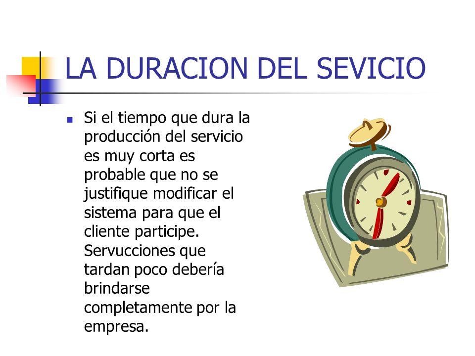 LA DURACION DEL SEVICIO Si el tiempo que dura la producción del servicio es muy corta es probable que no se justifique modificar el sistema para que el cliente participe.